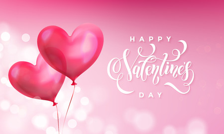 Valentines day greeting card of Valentine red heart balloon on pink light shine background. Happy Valentines day text lettering design template of glossy balloon heart. Illustration