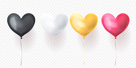 Heart balloon isolated glossy ballons for Valentines Day, wedding or birthday greeting card design.