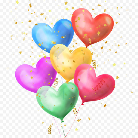 Heart balloons bunch and golden glitter stars confetti isolated on transparent background for Birthday party, Valentines Day or wedding decoration design. Vector helium heart colorful ballons bundle