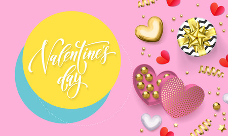 Valentines day greeting card of heart gift box decoration with chocolate candy in golden wrapper. Vector text calligraphy and gold confetti for Happy Valentine holiday pink background design Illustration