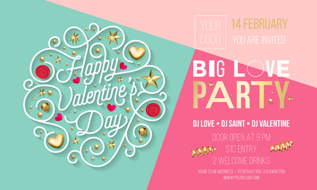 Valentine Day party invitation design template of golden text and heart or flowers decoration. Vector Happy Valentines Day party celebration invite of golden glitter star confetti on pink background