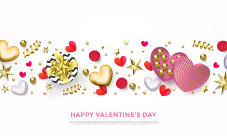 Valentines day greeting card of heart gift box, chocolate candy in golden wrapper and golden confetti or pink flowers pattern. Vector Happy Valentine holiday glittering gold background design Illustration