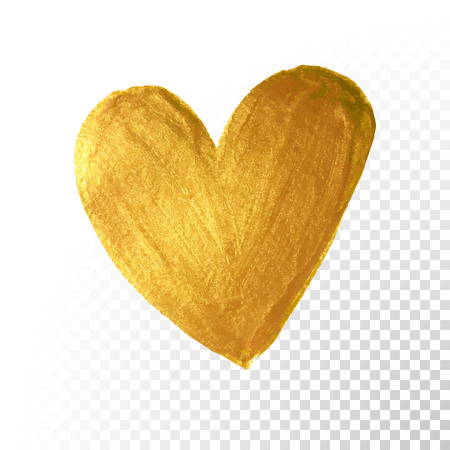 Gold paint brush. Vector Valentine heart on white background. Golden watercolor painting of heart shape for love concept design.