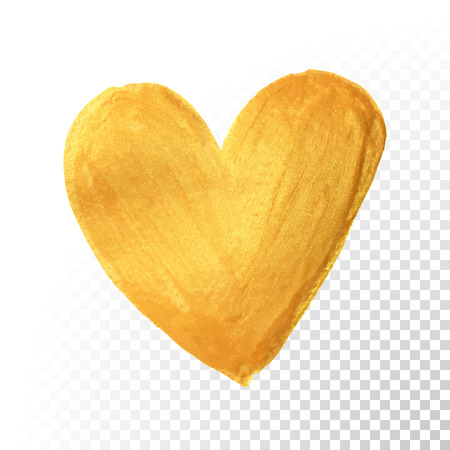 Gold heart paint brush for Valentine on white background. Vector golden watercolor painting of heart shape for love concept design.