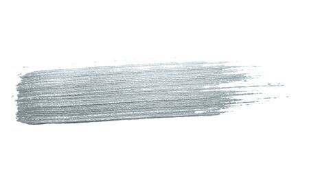 Silver glitter paint brush stroke or abstract dab smear with smudge texture on white background for luxury greeting card design template. Isolated glittering sparkling silver paint ink splash stain