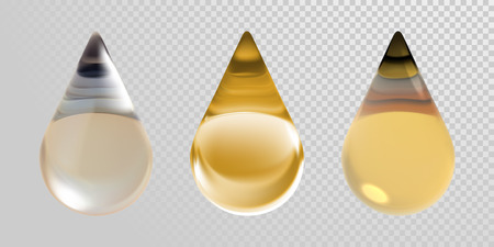 Gold oil drops isolated on transparent background. Realistic 3D vector clean oil essence droplets for cosmetic design.