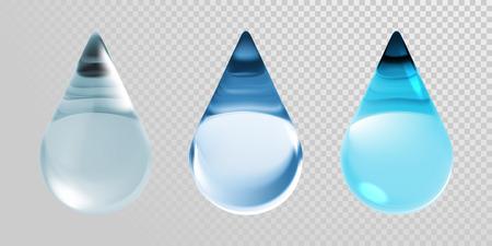 물 상품 투명 배경에 고립입니다. 현실적인 3D 벡터 모이스처 라이저 크림 또는 hyaluronic 본질 및 스킨 케어 콜라겐 화장품 또는 지구 자연 생태 디자인에 대 한 깨끗 한 푸른 물방울.