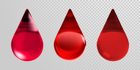Blood drops isolated on transparent background. Vector 3d realistic red blood droplets ions for blood donation center, donor day or medical and healthcare medicine design.