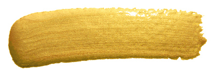 Gold color paint brush banner. Acrylic golden smear stroke stain on white background. Shine abstract detailed gold glittering textured wet paint stroke for party invitation card design template