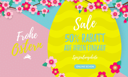 Happy Easter Sale German poster with paper cut Easter egg and cherry flowers or apple tree spring blossom design on bright yellow, blue and pink color paper background. Standard-Bild - 96349865