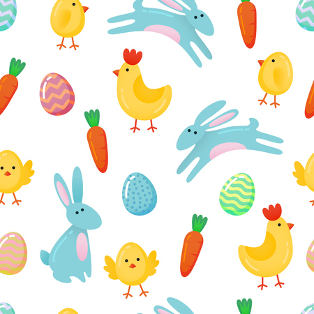 Vector Easter seamless pattern background with cute paper cut colored ornate eggs, cartoon chick and chicken, Easter bunny, rabbit isolated on white background.
