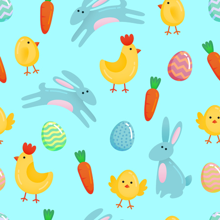 Vector Easter seamless pattern background with cute paper cut colored ornate eggs, cartoon chick and chiken, Easter bunny, rabbit on fresh blue green background. Funny Easter pattern template. Stock Illustratie