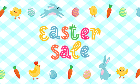 Easter sale vector cute banner with colored ornate eggs, cartoon chicken and Easter bunny, rabbit on white blue traditional tablecloth blanket background.