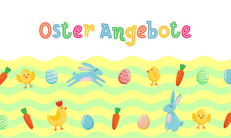 Easter sale vector German cute banner with colored ornate eggs, cartoon chicken and Easter bunny, rabbit on green spring grass field wave background.