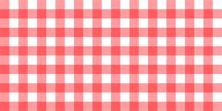 Vector gingham striped checkered blanket tablecloth. Seamless white red table cloth napkin pattern background with natural textile texture. Country fabric material for breakfast or dinner picnic.