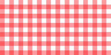 Wektor koc w kratkę w kratkę obrus w kratkę. Bezszwowe biały czerwony obrus serwetka wzór tła z naturalną teksturą włókienniczą. Tkanina wiejska na piknik śniadaniowy lub obiadowy. Ilustracje wektorowe
