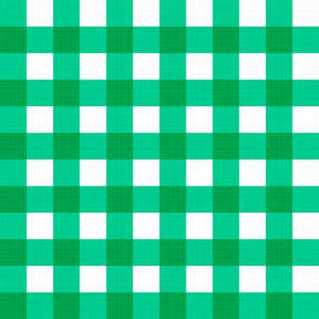 Vector linen gingham checkered blanket tablecloth. Seamless white green cloth table pattern background with natural textile texture. Retro country fabric material for holiday breakfast dinner picnic. Illustration