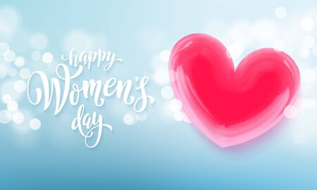 Happy womens day banner with ballon heart on romantic blue light bokeh background. Vector March greetings text poster for mothers day. International womens day flyer background template