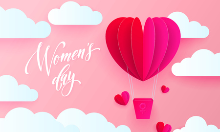 Womens day text on pink paper art heart balloon with gift box on white cloud pattern background. Vector 8 March greeting card for mothers day. International womens day background template
