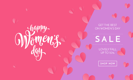 Women's day sale poster or banner for Mother's day holiday shop seasonal discount offer. Vector International Women's Day on 8 March design template of pink hearts pattern on purple pink background