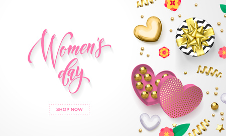 Women's day greeting card of heart gift box decoration with chocolate candy in golden wrapper. Vector text calligraphy and gold confetti for Happy Womens Day white background design