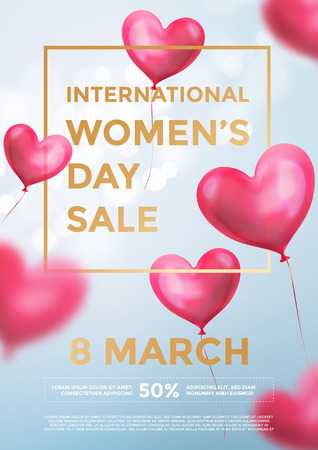 Women's day sale poster banner of red heart balloons in light shine on blue background. Vector Women's day sale golden text for holiday shop discount design template of heart air ballons on 8 March Illusztráció