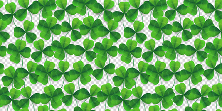 Vector four-leaf clover seamless pattern background. Lucky fower-leafed green background for Irish beer festival St Patrick's day.
