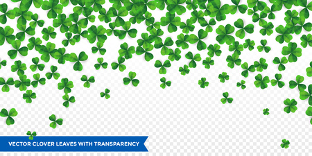 Patrick day background with vector four-leaf clover pattern background. Lucky fower-leafed green background for Irish beer festival St Patricks day. Vector green grass clover pattern background