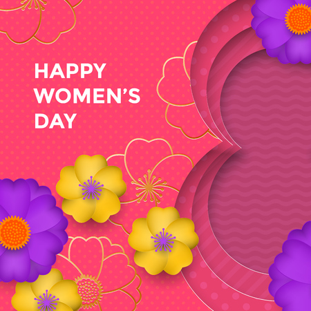 International Womens Day paper cut illustration with gold frame number eight for 8 March card. Happy Womens Day vector 3D paper cut out design with flowers on pink red background card template Illustration