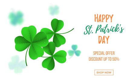 Happy Saint Patricks day sale banner with shamrock clover on white background.