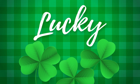 Happy Saint Patricks day card with Lucky text and shamrock clover on green gingham background.