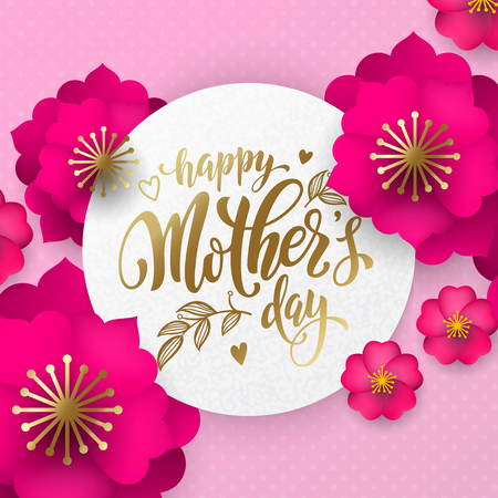 Mothers Day greeting card of red flowers pattern and gold text. Vector floral pink and red background for Mother Day holiday design