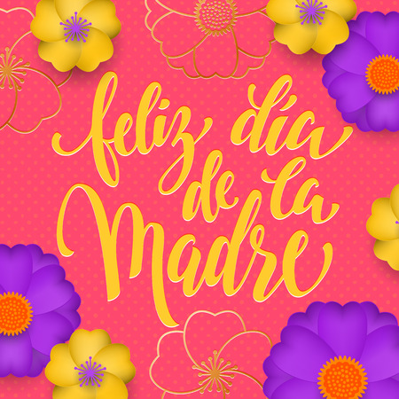 Mothers Day in Spanish greeting card of red flowers pattern and gold text Feliz dia de la Madre. Illustration