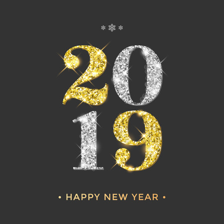 Happy New Year 2019 greeting card of golden and silver glitter confetti on vector premium black background for Christmas celebration