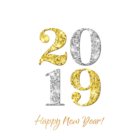Happy New Year 2019 greeting card of vector golden and silver glitter confetti on premium white background for Christmas celebration Ilustracja