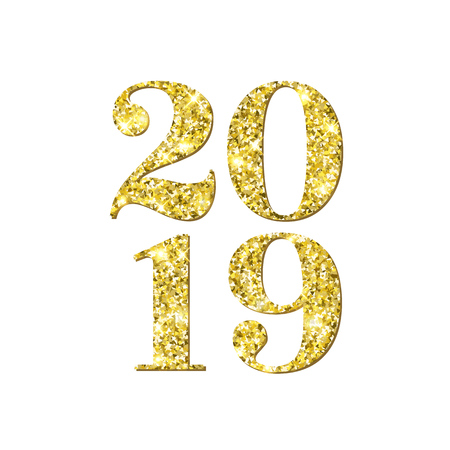 Happy New Year 2019 numbers of golden confetti on vector white background for Christmas greeting card