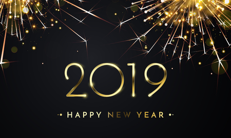 Happy New Year of glitter gold fireworks. Vector golden glittering text and 2019 numbers with sparkle shine for holiday greeting card