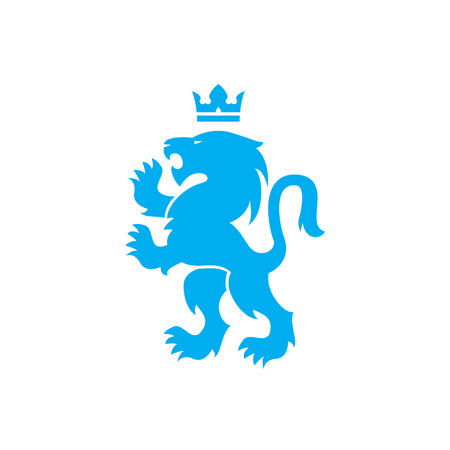 Lion and crown of a blue lion roaring with raised paws design
