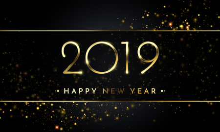 Happy New Year of glitter gold confetti. Vector golden glittering text and 2019 numbers with sparkle shine for Chirstams holiday greeting card on black background