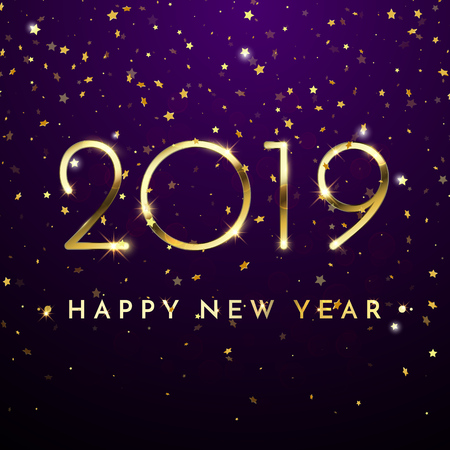 2019 Happy New Year of glitter gold confetti. Vector golden glittering text and numbers with sparkle shine for Christmas holiday greeting card on blue background Illustration