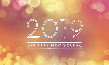 Happy New Year greeting card of 2019 confetti text and bokeh light on pink and vector golden background for Christmas holiday celebration Ilustracja