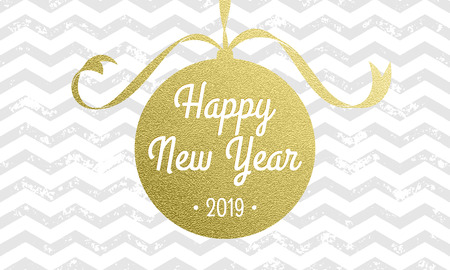 Happy New Year 2019 vector greeting card of vector Christmas tree gold foil decoration on white zig zag stripe pattern background