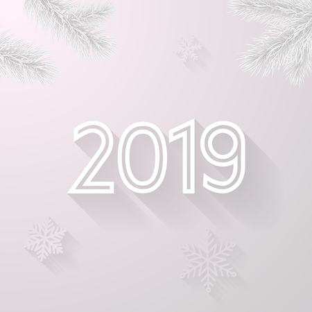 Happy New Year 2019 greeting card background of vector Christmas tree and snowflakes in frost for Christmas holiday celebration