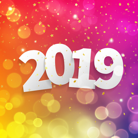 2019 Happy New Year greeting card with bokeh lights of golden stars glitter and vector pink color confetti for Christmas holiday celebration background