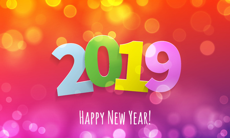 Happy New Year 2019 greeting card with vector bokeh lights of golden glitter and pink color for Christmas holiday celebration background