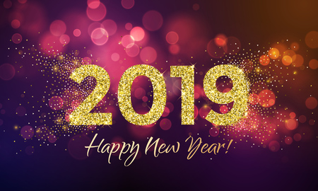 2019 Happy New Year greeting card of golden stars glitter confetti for Christmas holiday celebration on vector pink bokeh light background Vettoriali