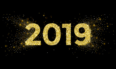 2019 Happy New Year greeting card of golden stars glitter confetti for Christmas holiday celebration on vector black sparkling background