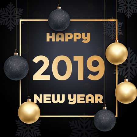 2019 Happy New Year greeting card of gold ball decoration with sparkling glitter and snowflakes for Christmas holiday celebration on vector black premium background in golden frame