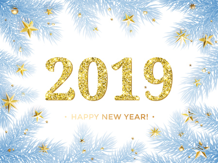 Happy New Year 2019 glitter gold in Christmas tree frame with golden stars confetti. Vector blue frost with glittering text for holiday greeting card on white background