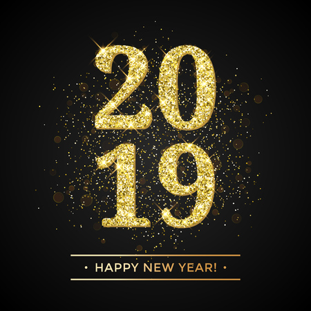 Happy New Year of glitter gold confetti or sparkle fireworks. Vector 2019 glittering text with sparkle shine for new year holiday premium black greeting card